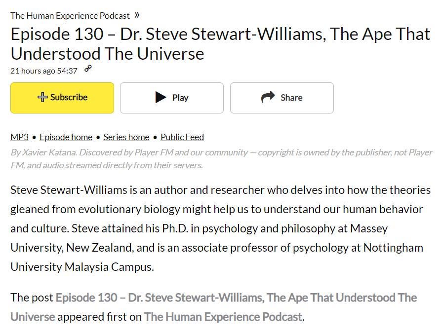 Homepage of Dr  Steve Stewart-Williams